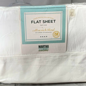 Martha Stewart White Twin Size Flat Sheet 39x75